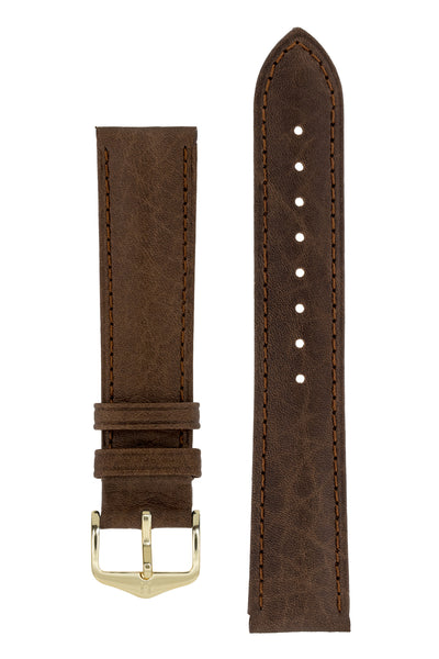 Hirsch Camelgrain Hypoallergenic Leather Watch Strap in Brown (with Polished Gold Steel H-Standard Buckle)