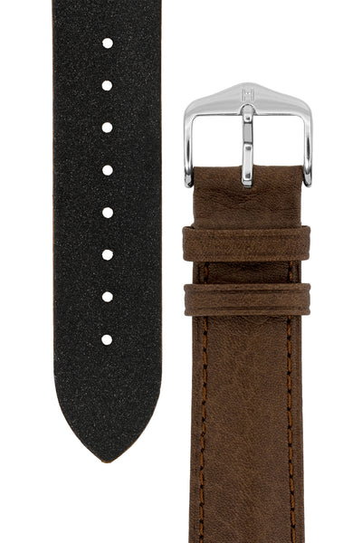 Hirsch Camelgrain Hypoallergenic Leather Watch Strap in Brown (Tapers & Buckle)