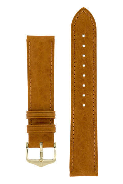 Hirsch Camelgrain Hypoallergenic Leather Watch Strap in Honey Brown (with Polished Gold Steel H-Standard Buckle)