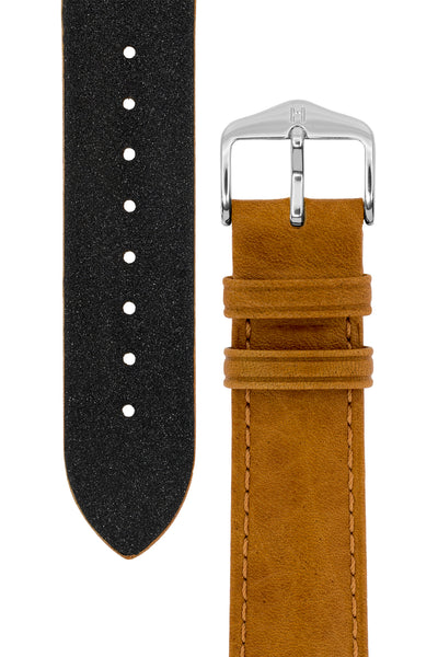 Hirsch Camelgrain Hypoallergenic Leather Watch Strap in Honey Brown (Tapers & Buckle)