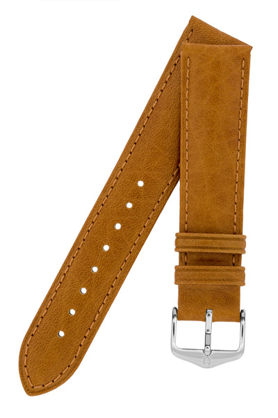 Hirsch Camelgrain Hypoallergenic Leather Watch Strap in Honey Brown