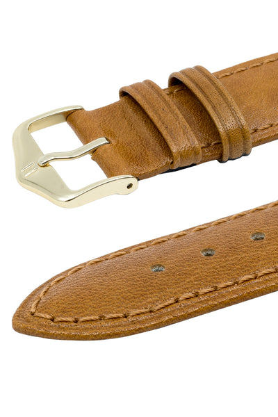 Hirsch Camelgrain Hypoallergenic Leather Watch Strap in Honey Brown (Keepers)