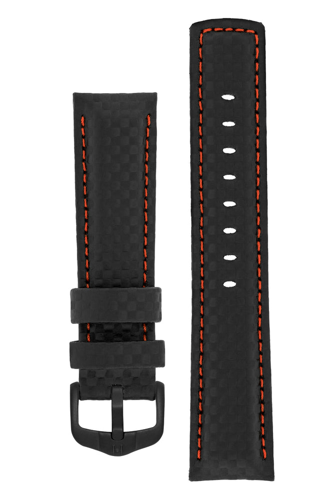 Hirsch Carbon Fibre-Embossed Water-Resistant Leather Watch Strap in Black with Red Stitch (with Black PVD-Coated Steel H-Active Buckle)