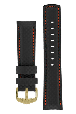 Hirsch Carbon Fibre-Embossed Water-Resistant Leather Watch Strap in Black with Red Stitch (with Polished Gold Steel H-Active Buckle)