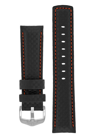 Hirsch Carbon Fibre-Embossed Water-Resistant Leather Watch Strap in Black with Red Stitch (with Brushed Silver Steel H-Active Buckle)