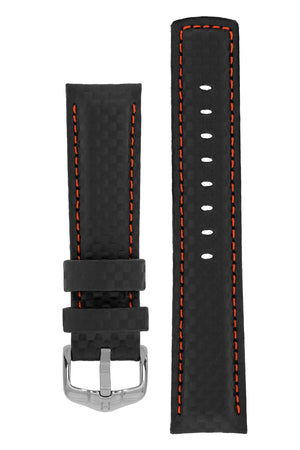 Hirsch Carbon Fibre-Embossed Water-Resistant Leather Watch Strap in Black with Red Stitch (with Polished Silver Steel H-Active Buckle)
