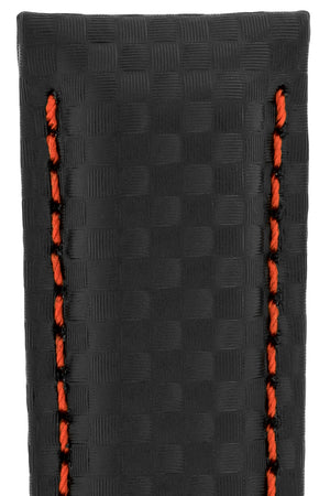 Hirsch Carbon Fibre-Embossed Water-Resistant Leather Watch Strap in Black with Red Stitch (Texture Detail)