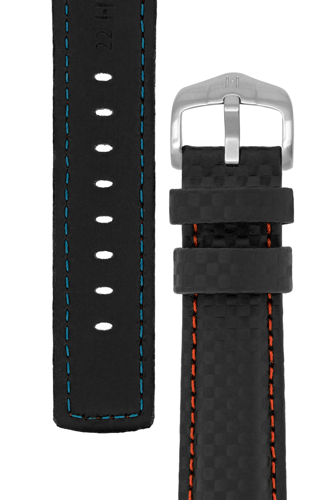 Load image into Gallery viewer, Hirsch Carbon Fibre-Embossed Water-Resistant Leather Watch Strap in Black with Red Stitch (Tapers & Buckle)