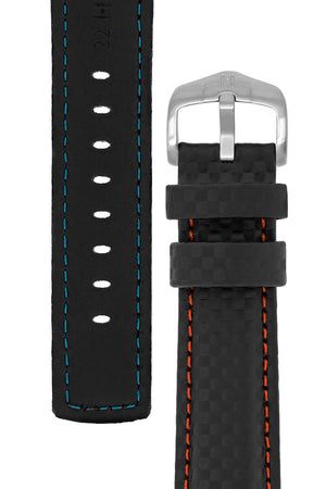 Hirsch Carbon Fibre-Embossed Water-Resistant Leather Watch Strap in Black with Red Stitch (Tapers & Buckle)