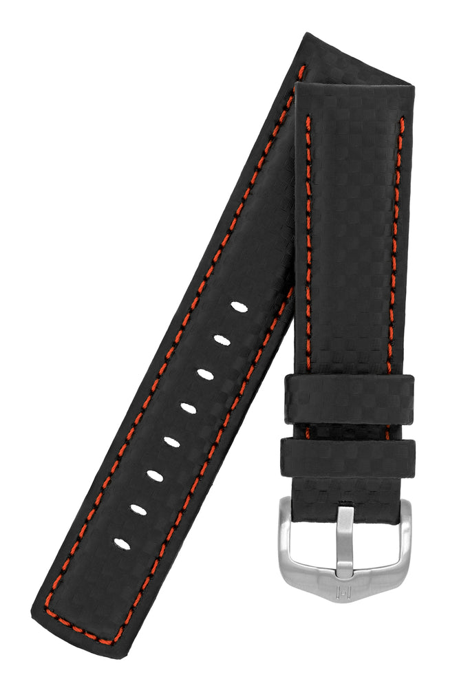 Hirsch Carbon Fibre-Embossed Water-Resistant Leather Watch Strap in Black with Red Stitch
