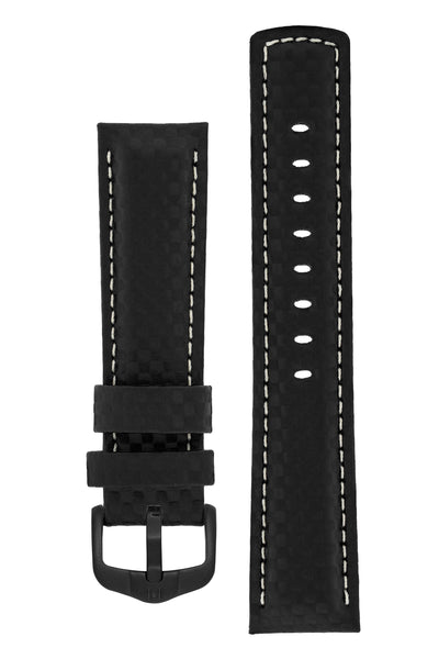 Hirsch Carbon Fibre-Embossed Water-Resistant Leather Watch Strap in Black (with Black PVD-Coated Steel H-Active Buckle)