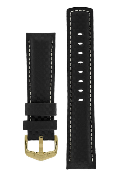 Hirsch Carbon Fibre-Embossed Water-Resistant Leather Watch Strap in Black (with Polished Gold Steel H-Active Buckle)