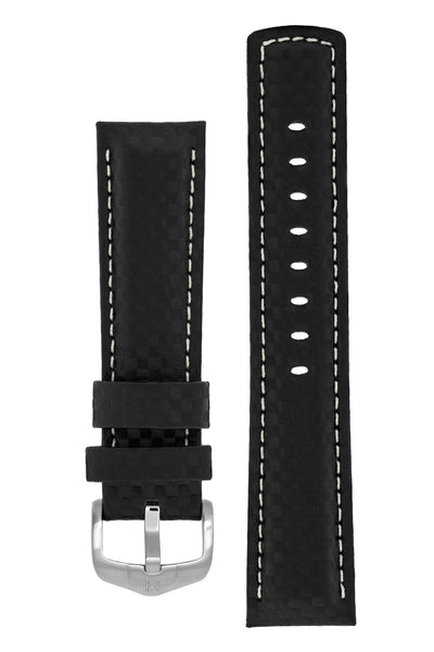 Hirsch Carbon Fibre-Embossed Water-Resistant Leather Watch Strap in Black (with Brushed Silver Steel H-Active Buckle)