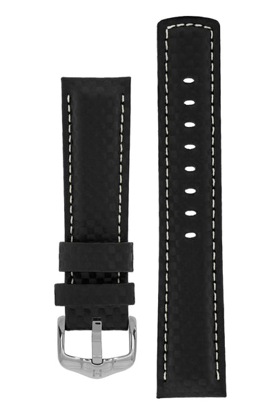 Hirsch Carbon Fibre-Embossed Water-Resistant Leather Watch Strap in Black (with Polished Silver Steel H-Active Buckle)