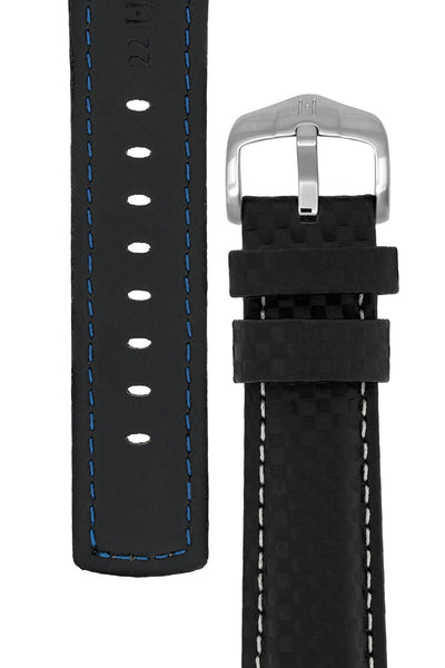 Hirsch Carbon Fibre-Embossed Water-Resistant Leather Watch Strap in Black (Tapers & Buckle)