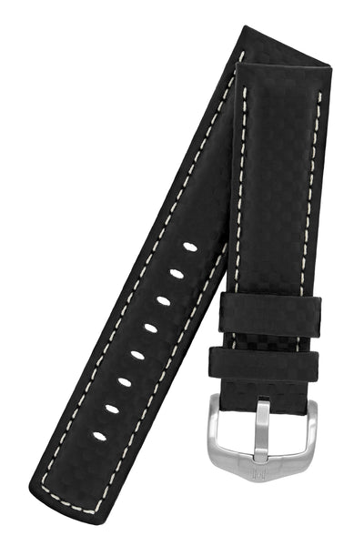 Hirsch Carbon Fibre-Embossed Water-Resistant Leather Watch Strap in Black