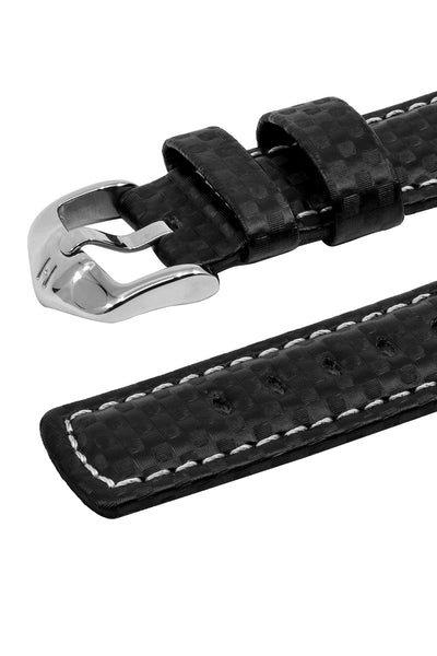 Hirsch Carbon Fibre-Embossed Water-Resistant Leather Watch Strap in Black (Keepers)