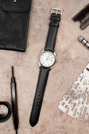 Hirsch Corse Calfskin Leather Watch Strap in Black (Promo Photo)