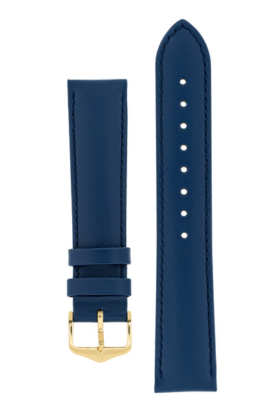 Hirsch Corse Calfskin Leather Watch Strap in Blue (with Polished Gold Steel H-Standard Buckle)