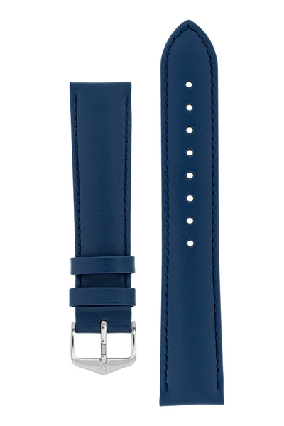 Hirsch Corse Calfskin Leather Watch Strap in Blue (with Polished Silver Steel H-Standard Buckle)