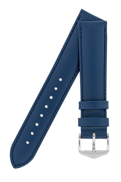 Hirsch Corse Calfskin Leather Watch Strap in Blue