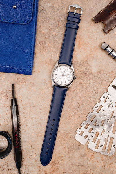 Hirsch Corse Calfskin Leather Watch Strap in Blue (Promo Photo)
