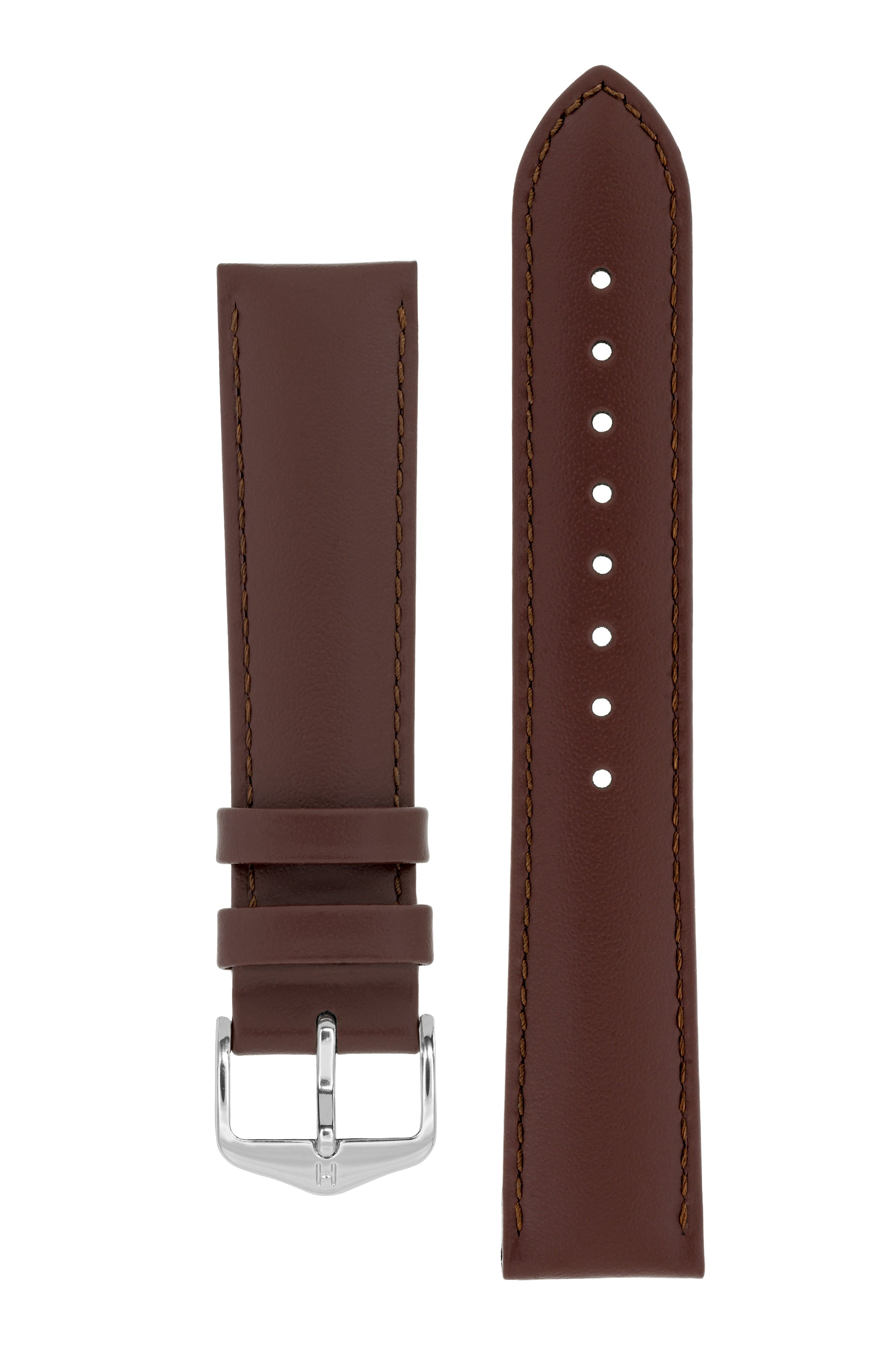 Hirsch CORSE Calf Leather Watch Strap in BROWN