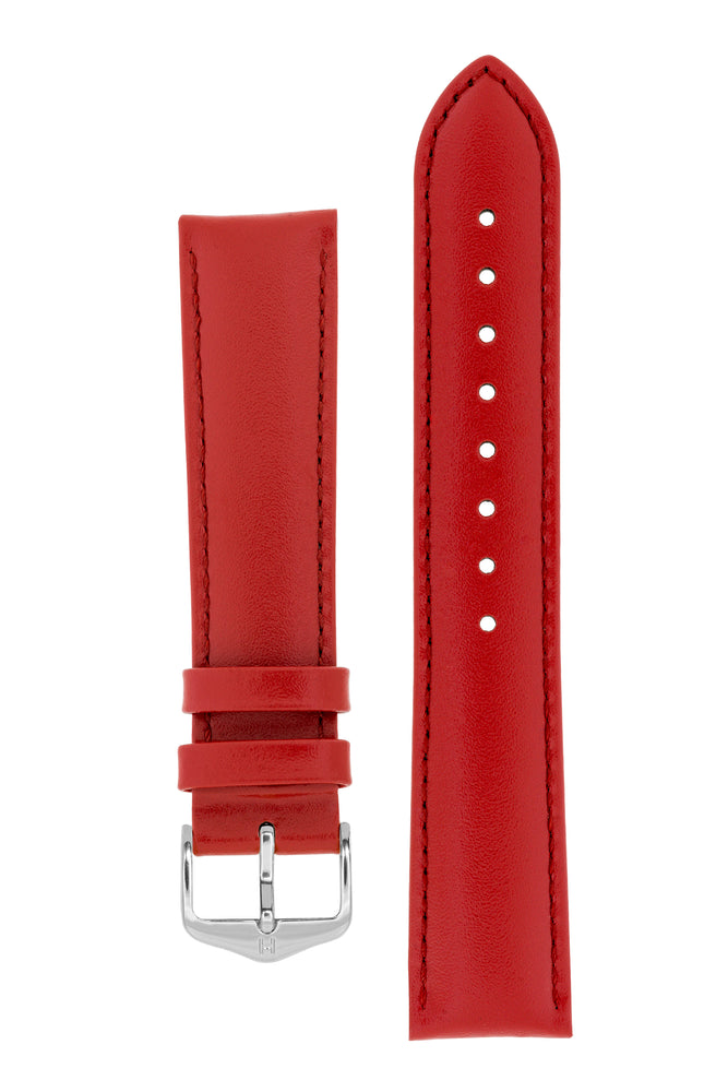 Hirsch CORSE Calf Leather Watch Strap in RED