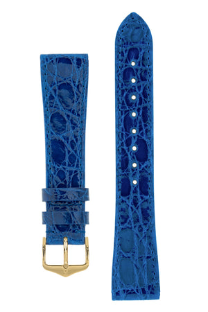 Hirsch Genuine Croco Glossy Crocodile Skin Watch Strap in Royal Blue (with Polished Gold Steel H-Tradition Buckle)