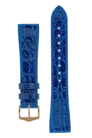 Hirsch Genuine Croco Glossy Crocodile Skin Watch Strap in Royal Blue (with Polished Rose Gold Steel H-Tradition Buckle)