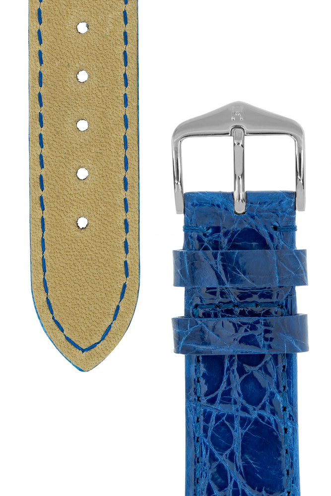 Hirsch Genuine Croco Glossy Crocodile Skin Watch Strap in Royal Blue (Tapers & Buckle)