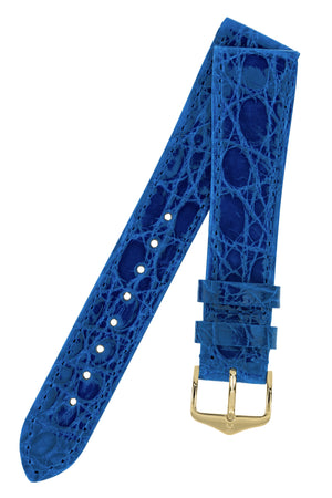 Hirsch Genuine Croco Glossy Crocodile Skin Watch Strap in Royal Blue