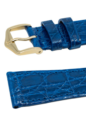 Hirsch Genuine Croco Glossy Crocodile Skin Watch Strap in Royal Blue (Keepers)
