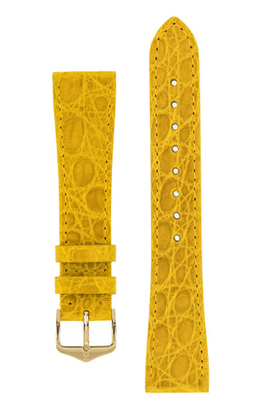 Hirsch Genuine Croco Glossy Crocodile Skin Watch Strap in Yellow (with Polished Gold Steel H-Tradition Buckle)
