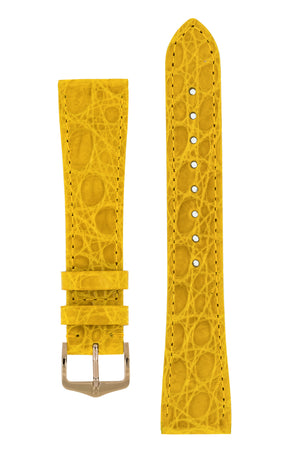 Hirsch Genuine Croco Glossy Crocodile Skin Watch Strap in Yellow (with Polished Rose Gold Steel H-Tradition Buckle)