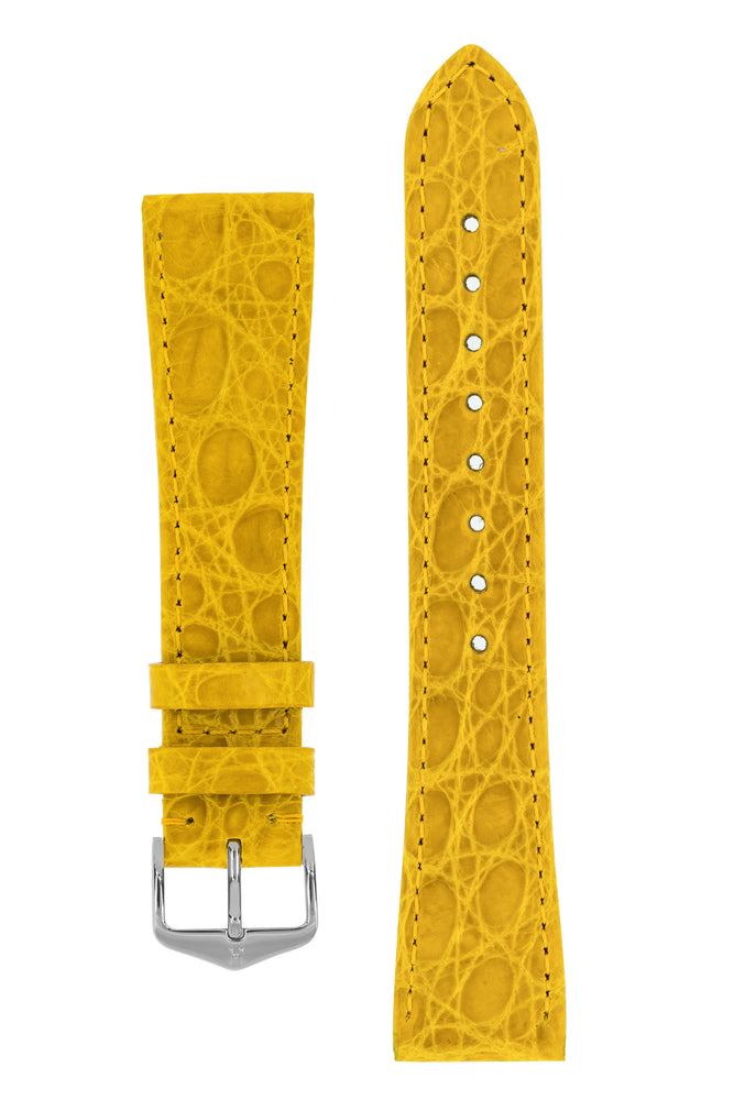 Hirsch Genuine Croco Glossy Crocodile Skin Watch Strap in Yellow (with Polished Silver Steel H-Tradition Buckle)