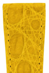Hirsch Genuine Croco Glossy Crocodile Skin Watch Strap in Yellow (Texture Detail)