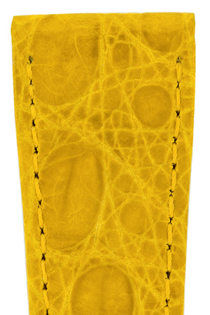 Load image into Gallery viewer, Hirsch Genuine Croco Glossy Crocodile Skin Watch Strap in Yellow (Texture Detail)