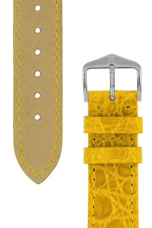 Hirsch Genuine Croco Glossy Crocodile Skin Watch Strap in Yellow (Tapers & Buckle)