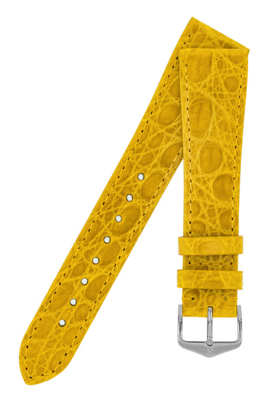 Hirsch Genuine Croco Glossy Crocodile Skin Watch Strap in Yellow