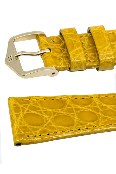 Hirsch Genuine Croco Glossy Crocodile Skin Watch Strap in Yellow (Keepers)