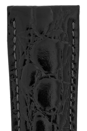Hirsch Crocograin Crocodile-Embossed Leather Watch Strap in Black (Texture Detail)