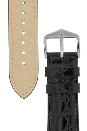 Hirsch Crocograin Crocodile-Embossed Leather Watch Strap in Black (Tapers & Buckle)
