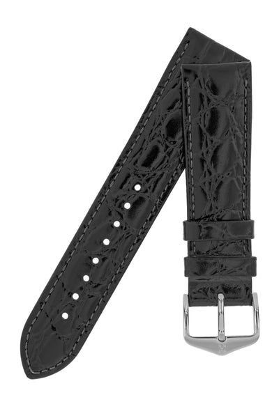 Hirsch Crocograin Crocodile-Embossed Leather Watch Strap in Black