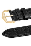 Hirsch Crocograin Crocodile-Embossed Leather Watch Strap in Black (Keepers)