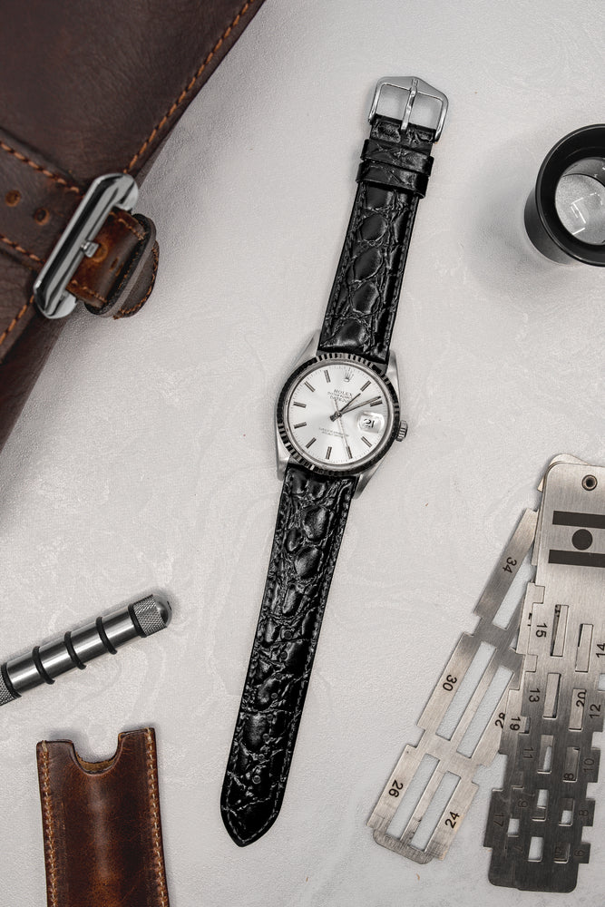 Hirsch Crocograin Crocodile-Embossed Leather Watch Strap in Black (Promo Photo)