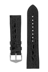 Hirsch Crocograin Crocodile-Embossed Leather Watch Strap in Black (with Polished Silver Steel H-Standard Buckle)