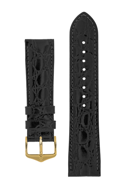 Hirsch Crocograin Crocodile-Embossed Leather Watch Strap in Black (with Polished Gold Steel H-Standard Buckle)