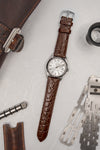 Hirsch CROCOGRAIN Crocodile Embossed Leather Watch Strap in BROWN