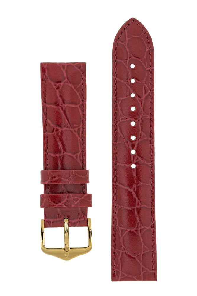 Hirsch Crocograin Crocodile-Embossed Leather Watch Strap in Burgundy (with Polished Gold Steel H-Standard Buckle)